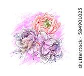 sketch flowers peony closeup....   Shutterstock .eps vector #584901025