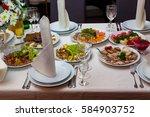 serving banquet table | Shutterstock . vector #584903752