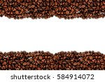 frame of roasted coffee beans... | Shutterstock . vector #584914072
