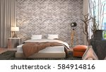 bedroom interior. 3d... | Shutterstock . vector #584914816