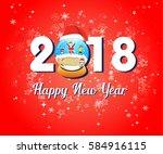 vector   happy new year 2018 ... | Shutterstock .eps vector #584916115