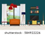 television room interior with...   Shutterstock .eps vector #584922226
