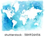 vintage white map of the world... | Shutterstock . vector #584926456
