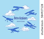 background with retro airplanes ...   Shutterstock .eps vector #584927128