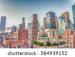 new york city skyline on a...   Shutterstock . vector #584939152