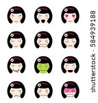 cute emoji collection. kawaii... | Shutterstock .eps vector #584939188