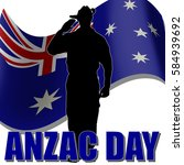 anzac day banner or poster... | Shutterstock .eps vector #584939692