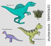 set of 3 stylized dinosaurs...