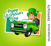 drawing of a leprechaun driving ... | Shutterstock .eps vector #584943676