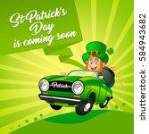 drawing of a leprechaun driving ... | Shutterstock .eps vector #584943682