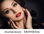 attractive lady face. red... | Shutterstock . vector #584948536