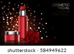 cosmetic product poster  red... | Shutterstock .eps vector #584949622