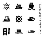 boat icons set. set of 9 boat... | Shutterstock .eps vector #584950072