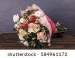 delicate bouquet of carnation... | Shutterstock . vector #584961172