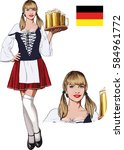 young blonde haired bavarian... | Shutterstock . vector #584961772