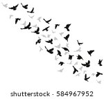 silhouette of a bird flying | Shutterstock .eps vector #584967952