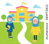 happy muslim girls going to...   Shutterstock .eps vector #584972812