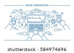 online communication lineart... | Shutterstock .eps vector #584974696