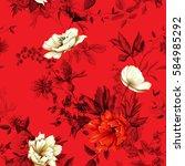 flowers. poppy  wild roses ... | Shutterstock .eps vector #584985292