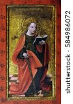 Small photo of ZAGREB, CROATIA - JUNE 18: St. Catherine of Alexandria, the altarpiece from the parish church of St. Vitus in Vrbovec, exhibited in Museum of Arts and Crafts in Zagreb, on June 18, 2015.
