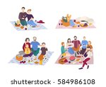 picnic in park  vector... | Shutterstock .eps vector #584986108
