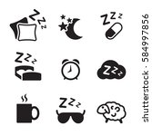 sleeping icons set. black on a... | Shutterstock .eps vector #584997856