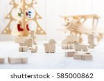 cute wooden toy animal on wood... | Shutterstock . vector #585000862