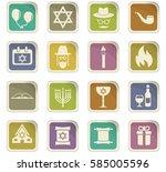 hannukah vector icons for user... | Shutterstock .eps vector #585005596