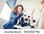 successful businesswomen... | Shutterstock . vector #585006796