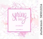 spring sale background in pink... | Shutterstock .eps vector #585013216
