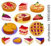 homemade organic pie dessert...   Shutterstock .eps vector #585018355