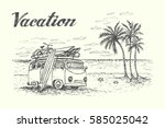 summer vacation scene with... | Shutterstock .eps vector #585025042