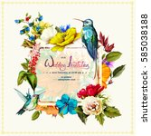 wedding invitation with roses ... | Shutterstock .eps vector #585038188