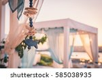 blue wooden fish decoration... | Shutterstock . vector #585038935