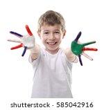 little boy with hands in...   Shutterstock . vector #585042916