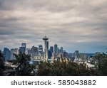 the cityscape of skyscrapers in ... | Shutterstock . vector #585043882