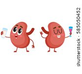 pair of cute and funny healthy... | Shutterstock .eps vector #585050452
