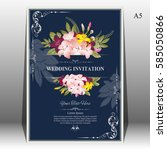 invitation card or wedding card ... | Shutterstock .eps vector #585050866