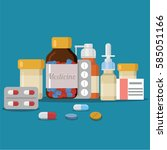 different medical pills and...   Shutterstock .eps vector #585051166