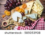assorted cheeses  nuts and... | Shutterstock . vector #585053938