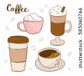 cup of coffee with cream ... | Shutterstock .eps vector #585060766
