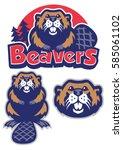 set of beaver mascot   Shutterstock .eps vector #585061102