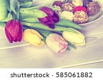 tulips bouquet and homemade... | Shutterstock . vector #585061882