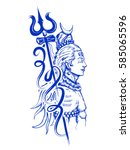 illustration of lord shiva ... | Shutterstock .eps vector #585065596