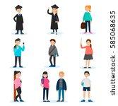 people in university set with... | Shutterstock .eps vector #585068635