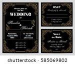 set of wedding cards in retro... | Shutterstock .eps vector #585069802