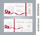 set of stylish gift vouchers... | Shutterstock .eps vector #585085846