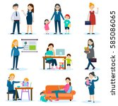 busy mother and pregnant woman... | Shutterstock .eps vector #585086065