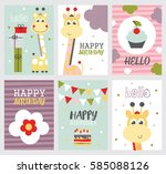 set of cute happy birthday card ... | Shutterstock .eps vector #585088126