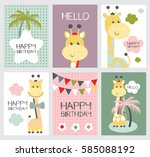 set of cute happy birthday card ... | Shutterstock .eps vector #585088192